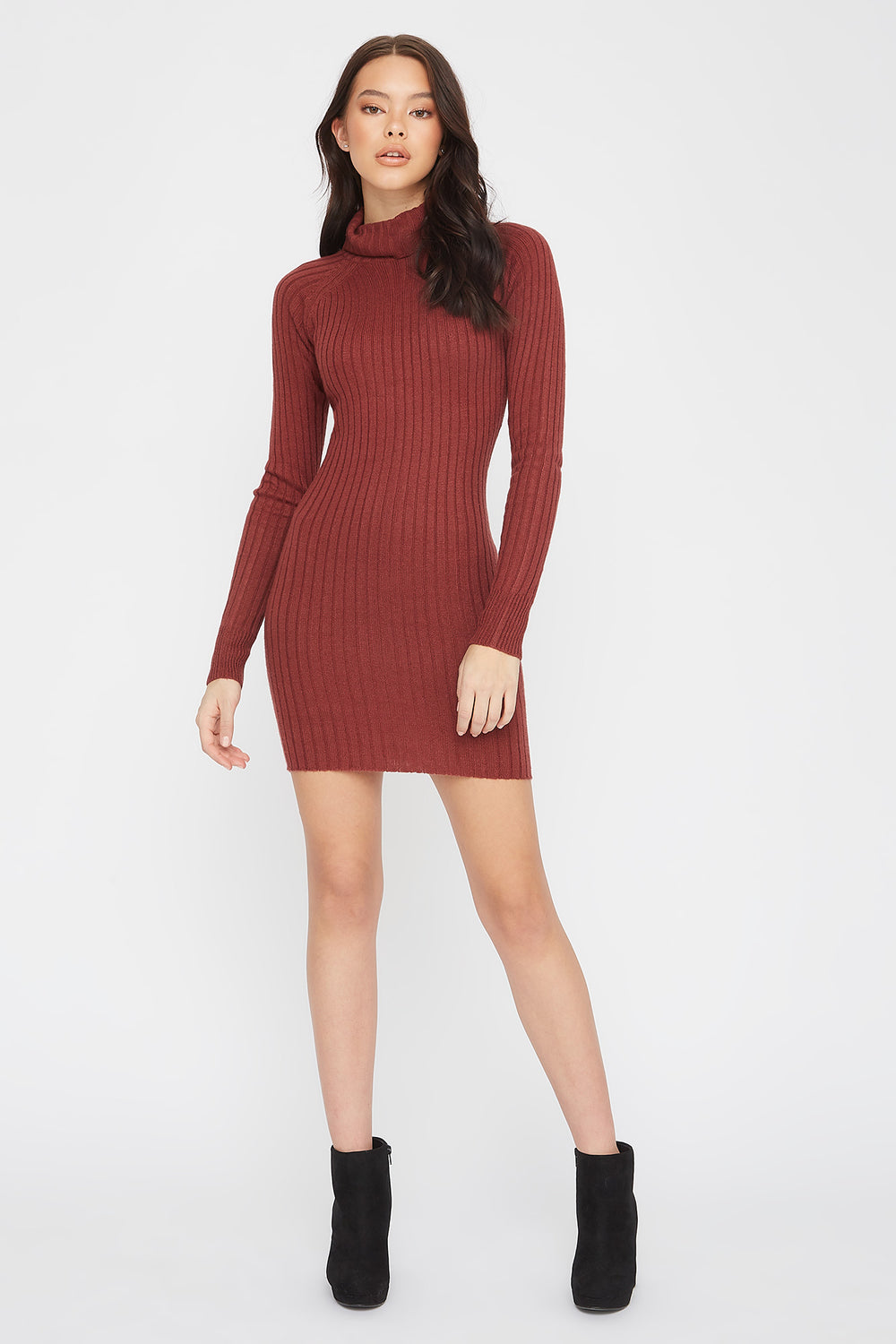 Knit Turtleneck Long Sleeve Mini Dress Brown