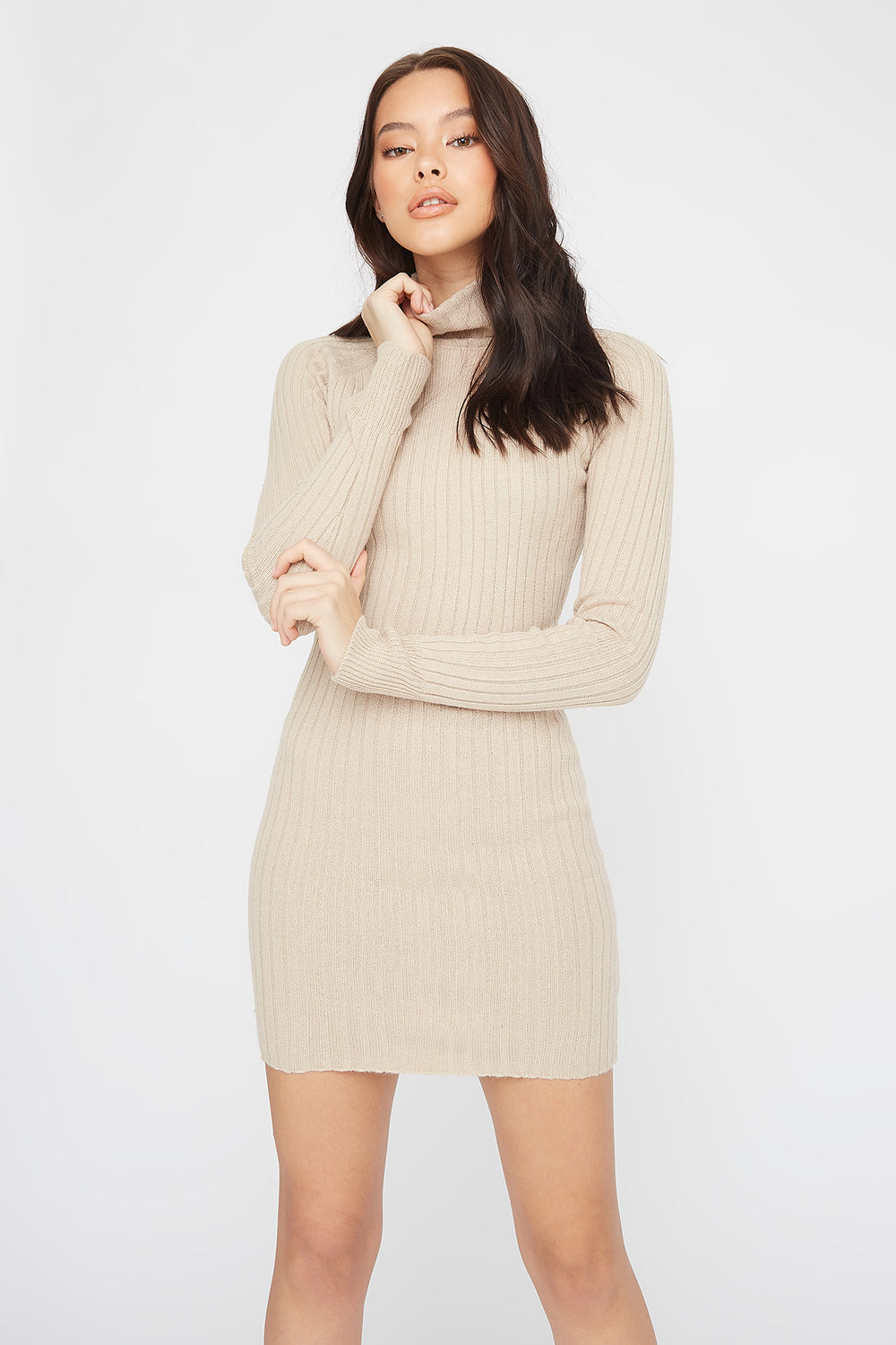 Knit Turtleneck Long Sleeve Mini Dress Khaki