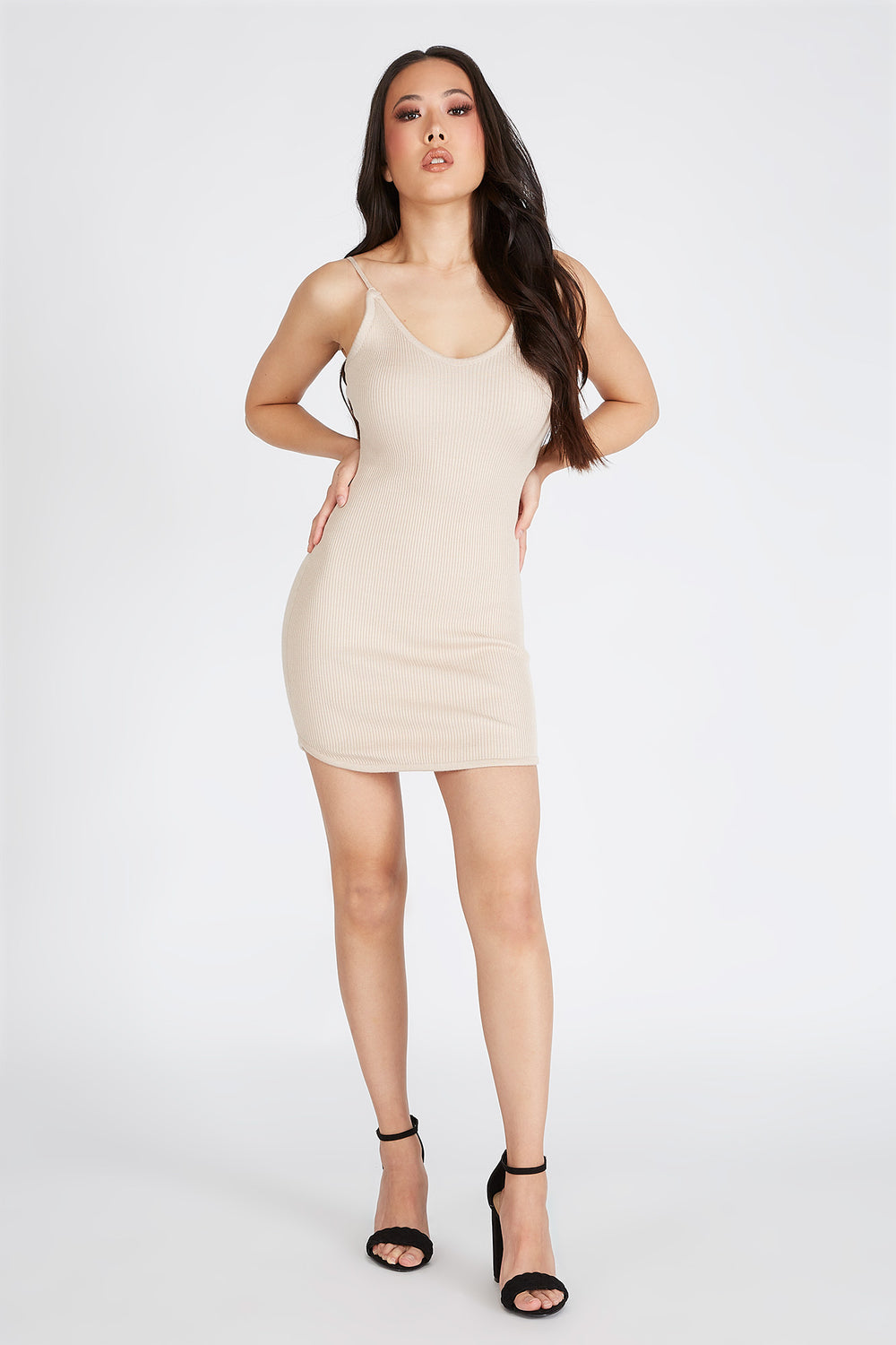 Knit Sleeveless Mini Dress Tan