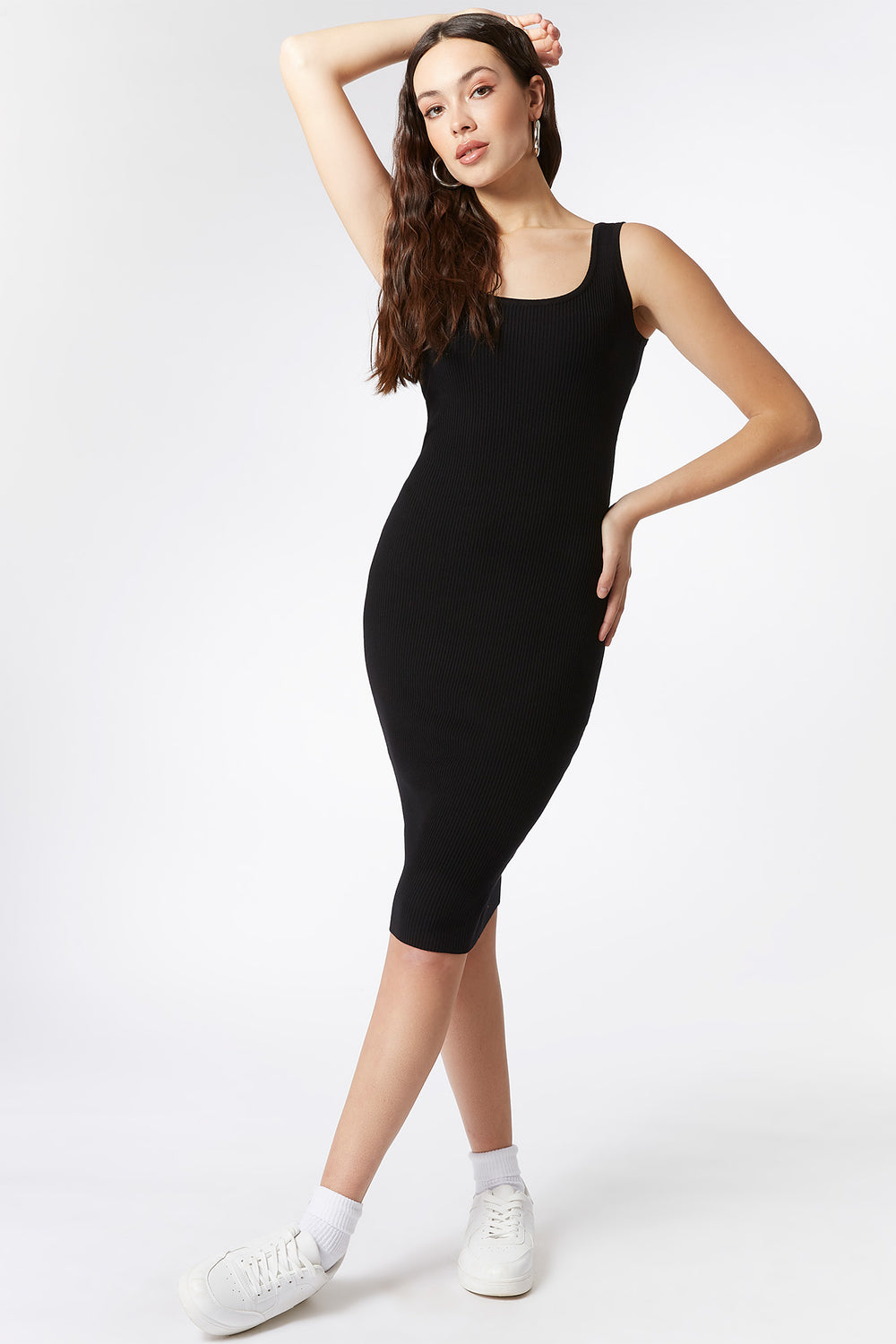 Ribbed Scoop Neck Tank Midi Dress Black