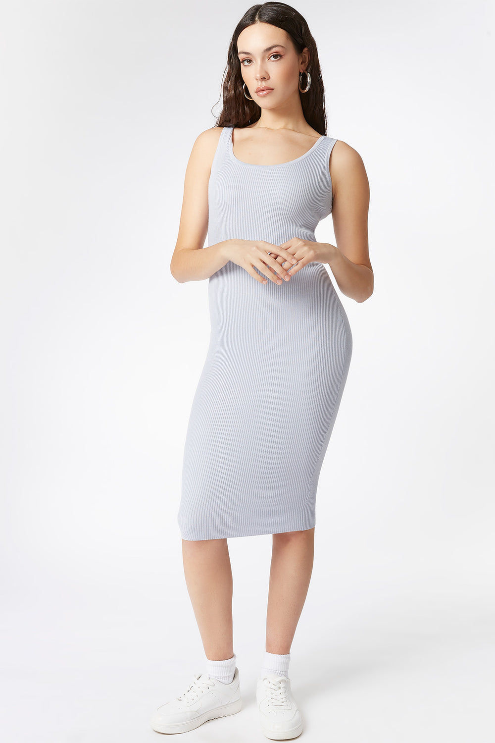 Ribbed Scoop Neck Tank Midi Dress Light Blue