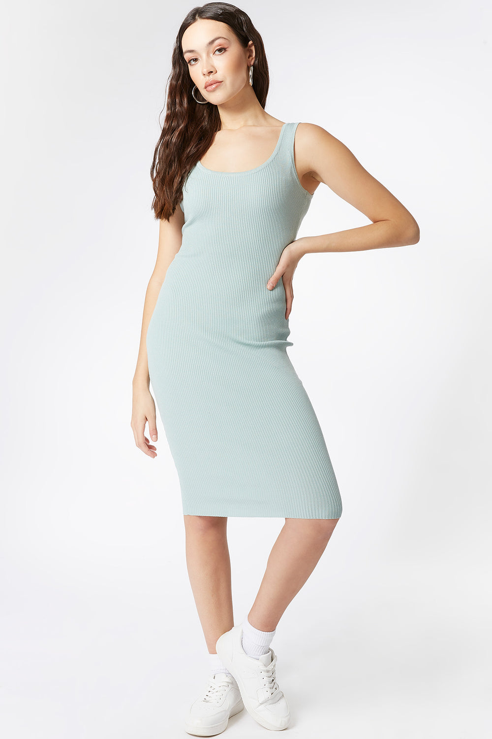 Ribbed Scoop Neck Tank Midi Dress Sage