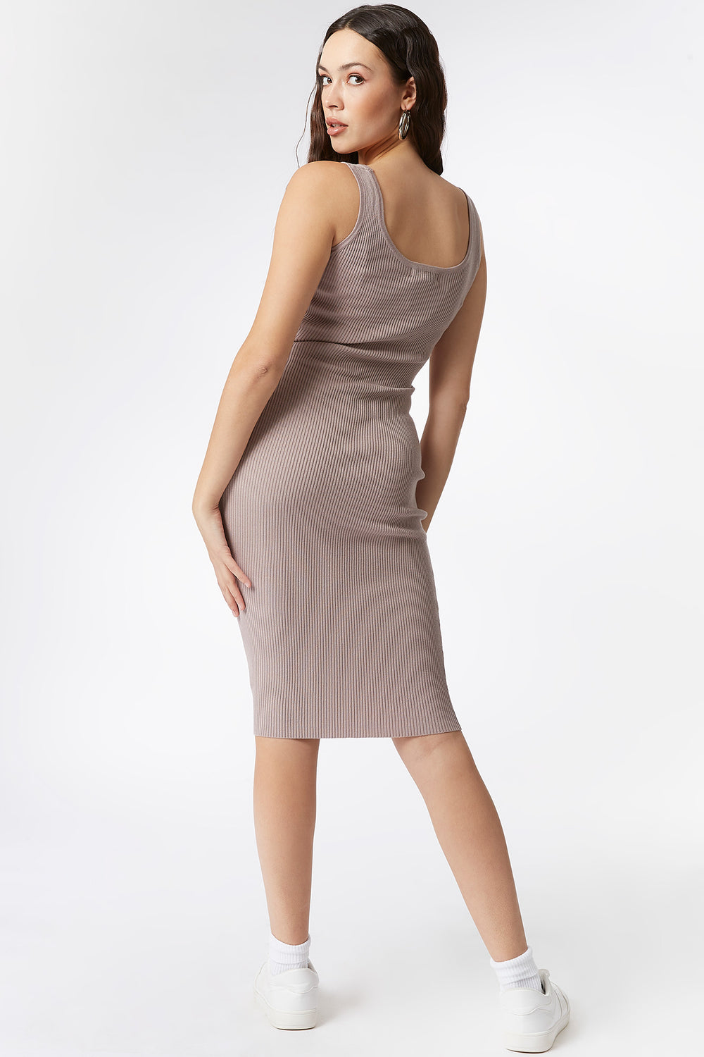 Ribbed Scoop Neck Tank Midi Dress Taupe