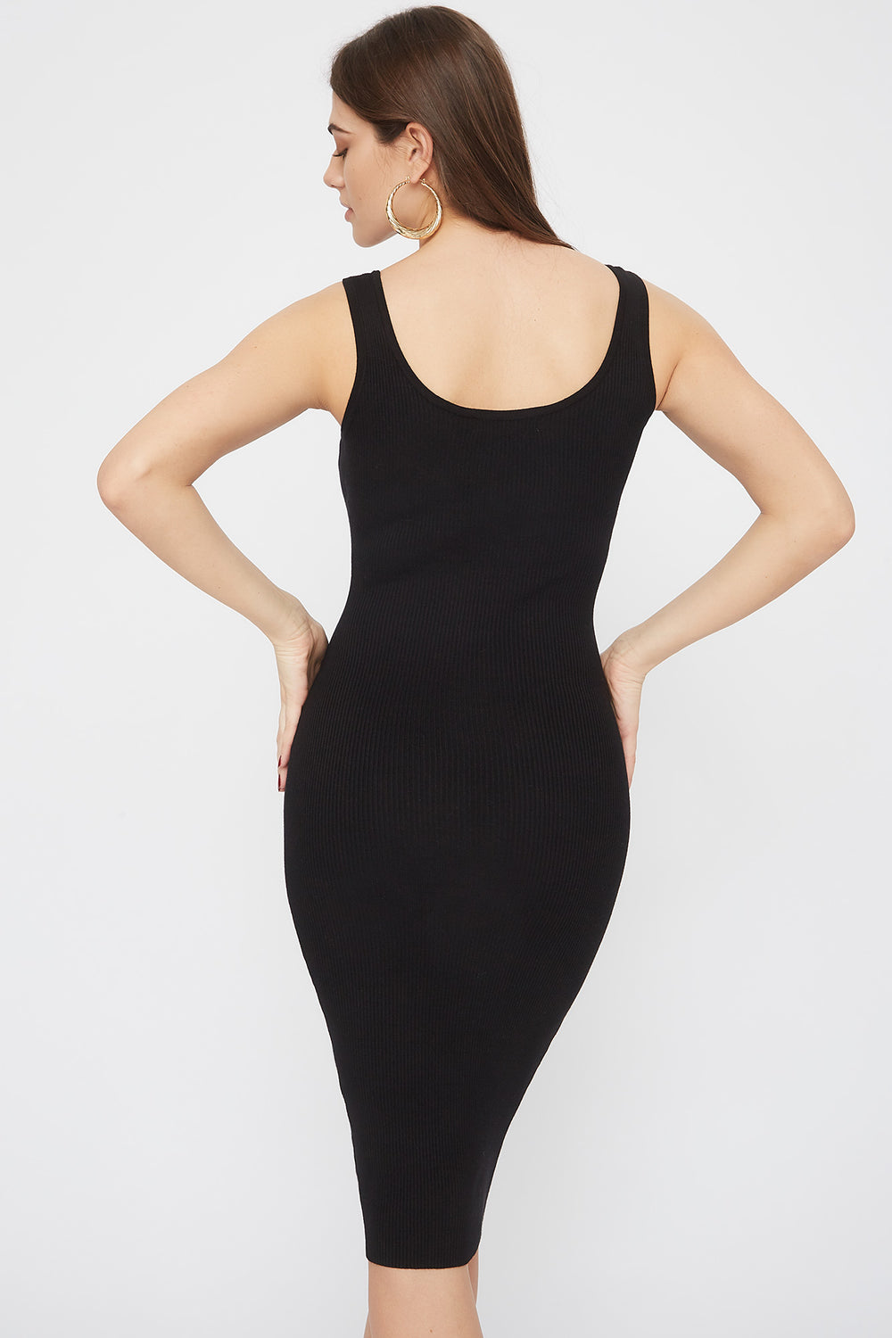Ribbed Scoop Neck Midi Dress Black