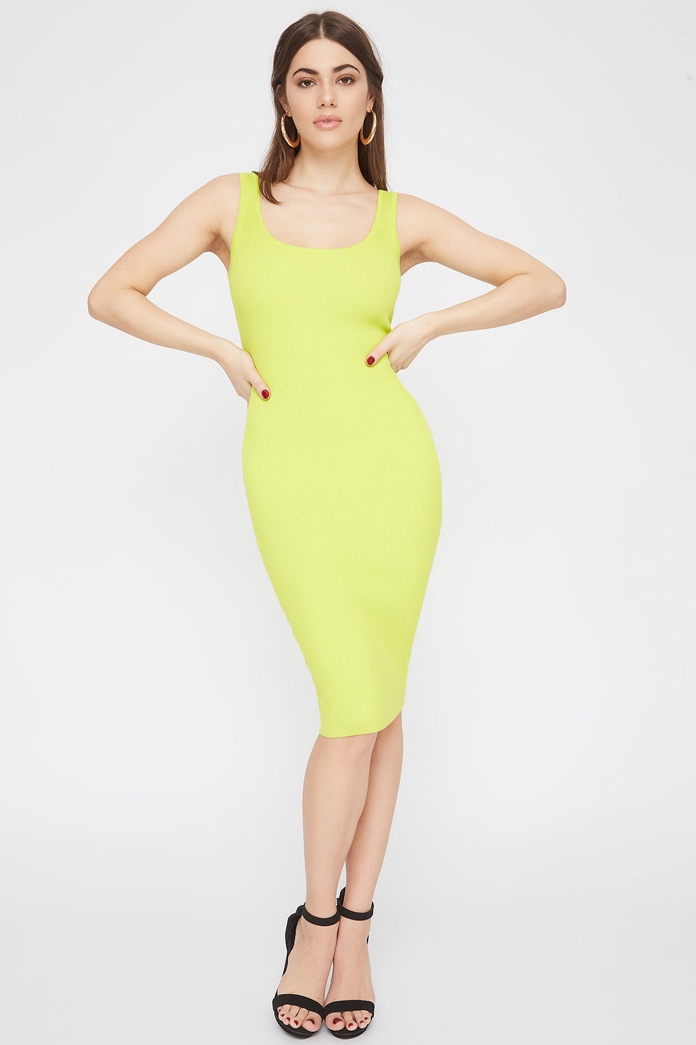 Ribbed Scoop Neck Midi Dress Neon Yellow