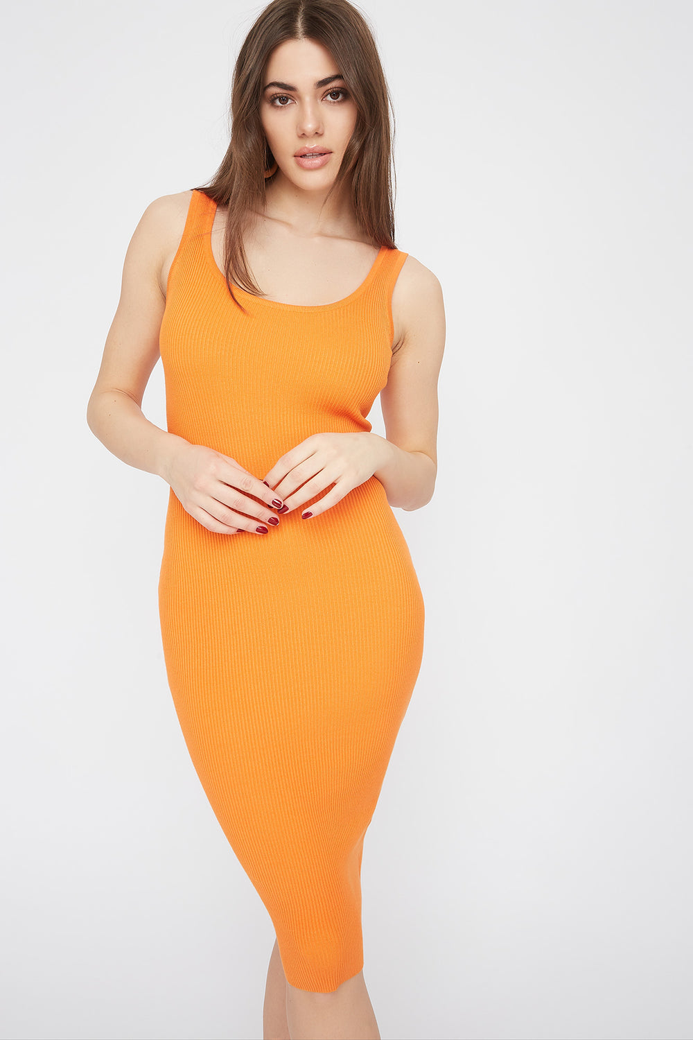 Ribbed Scoop Neck Midi Dress Neon Orange