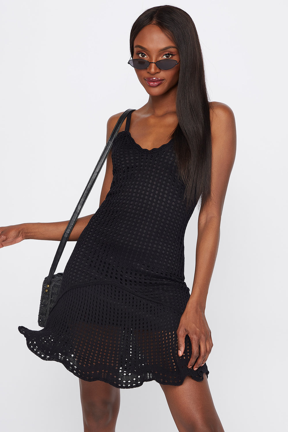 Knit Tie-Back Mini Dress Black