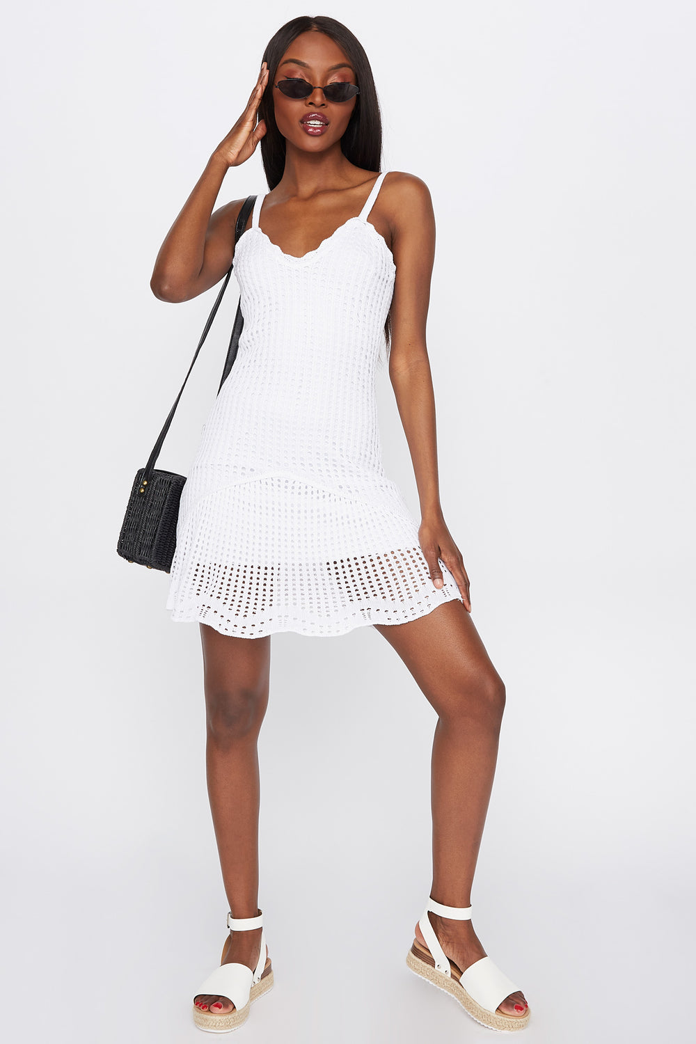 Knit Tie-Back Mini Dress White