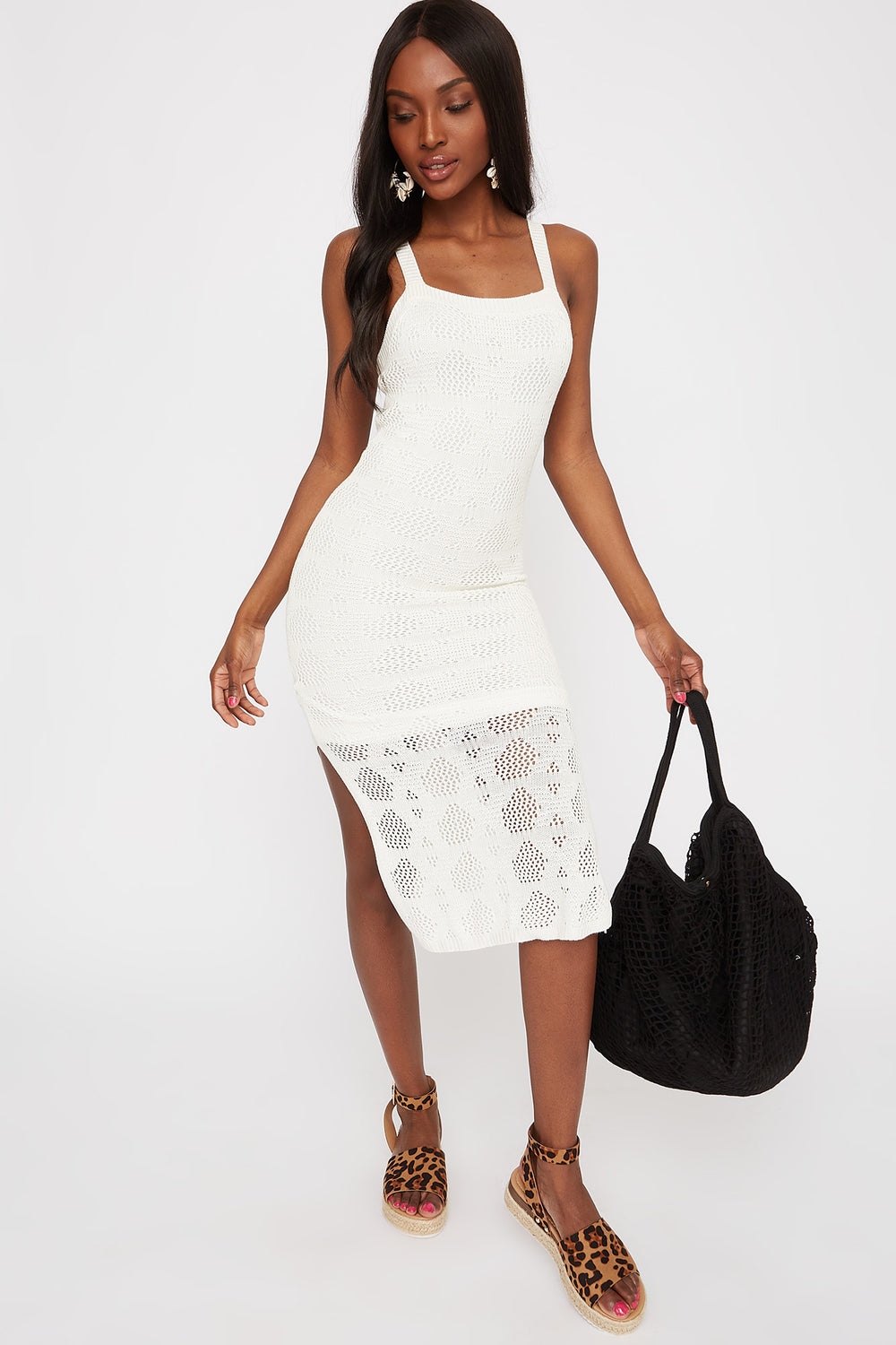 Crochet Midi Dress White