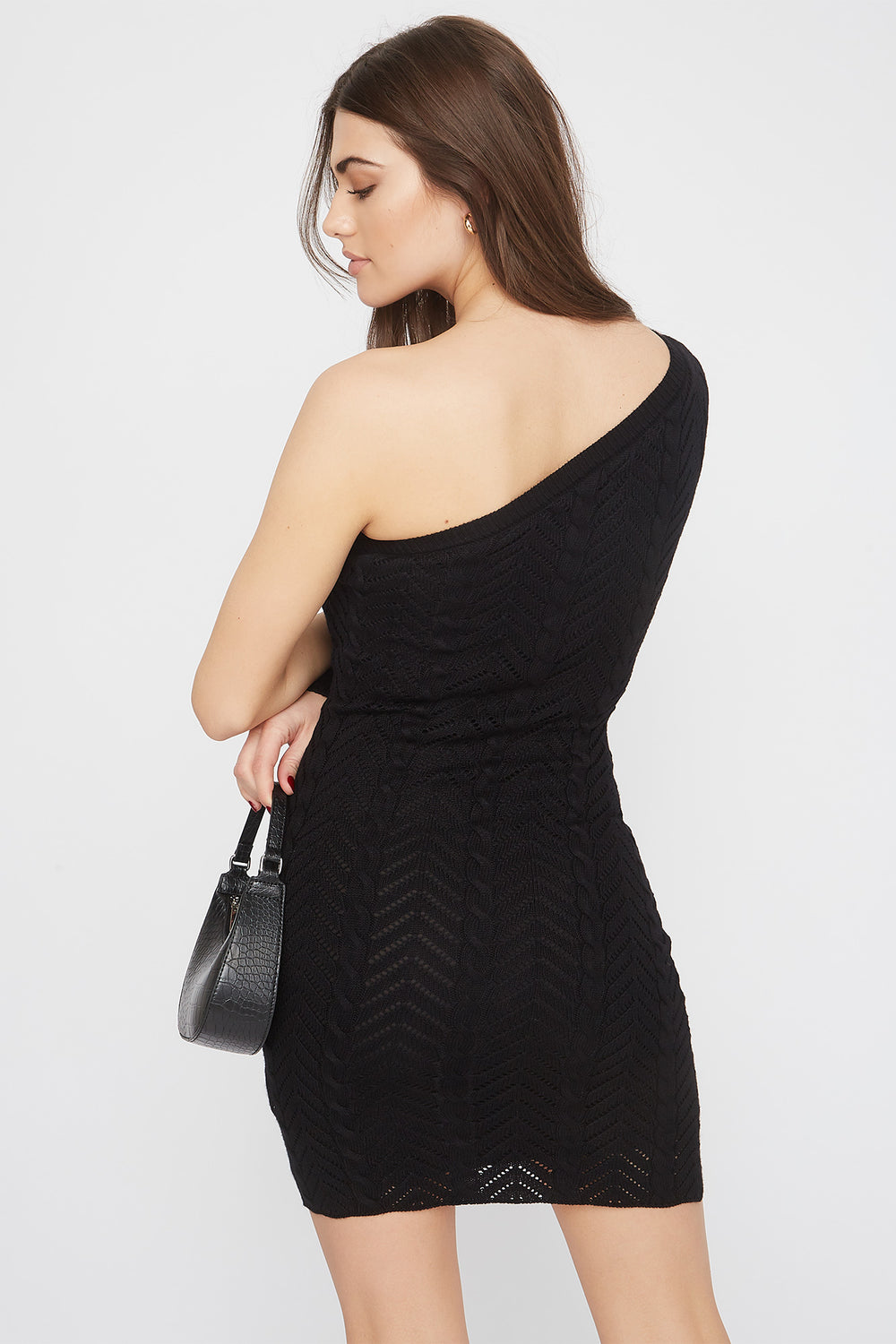 Knit Asymmetric Mini Dress Black