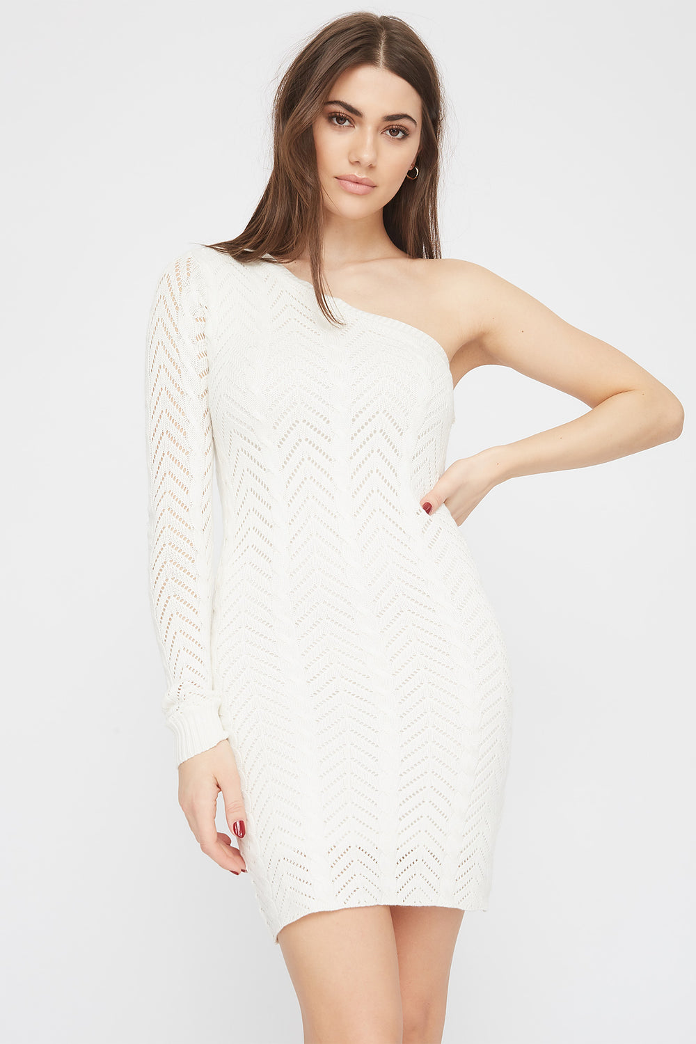 Knit Asymmetric Mini Dress White