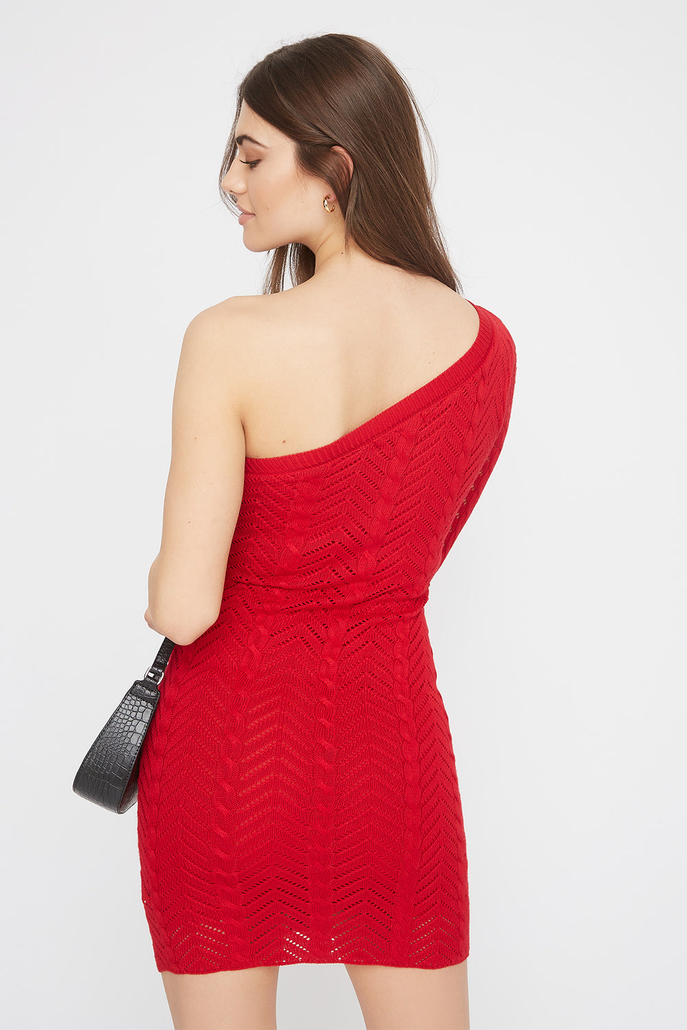 Knit Asymmetric Mini Dress Red