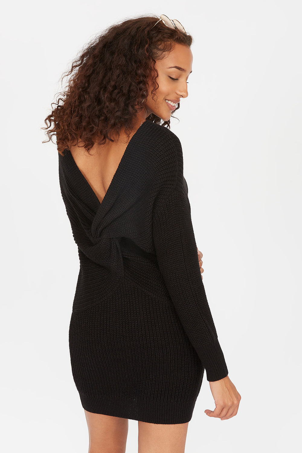 Ribbed Twist Back Mini Sweater Dress Black