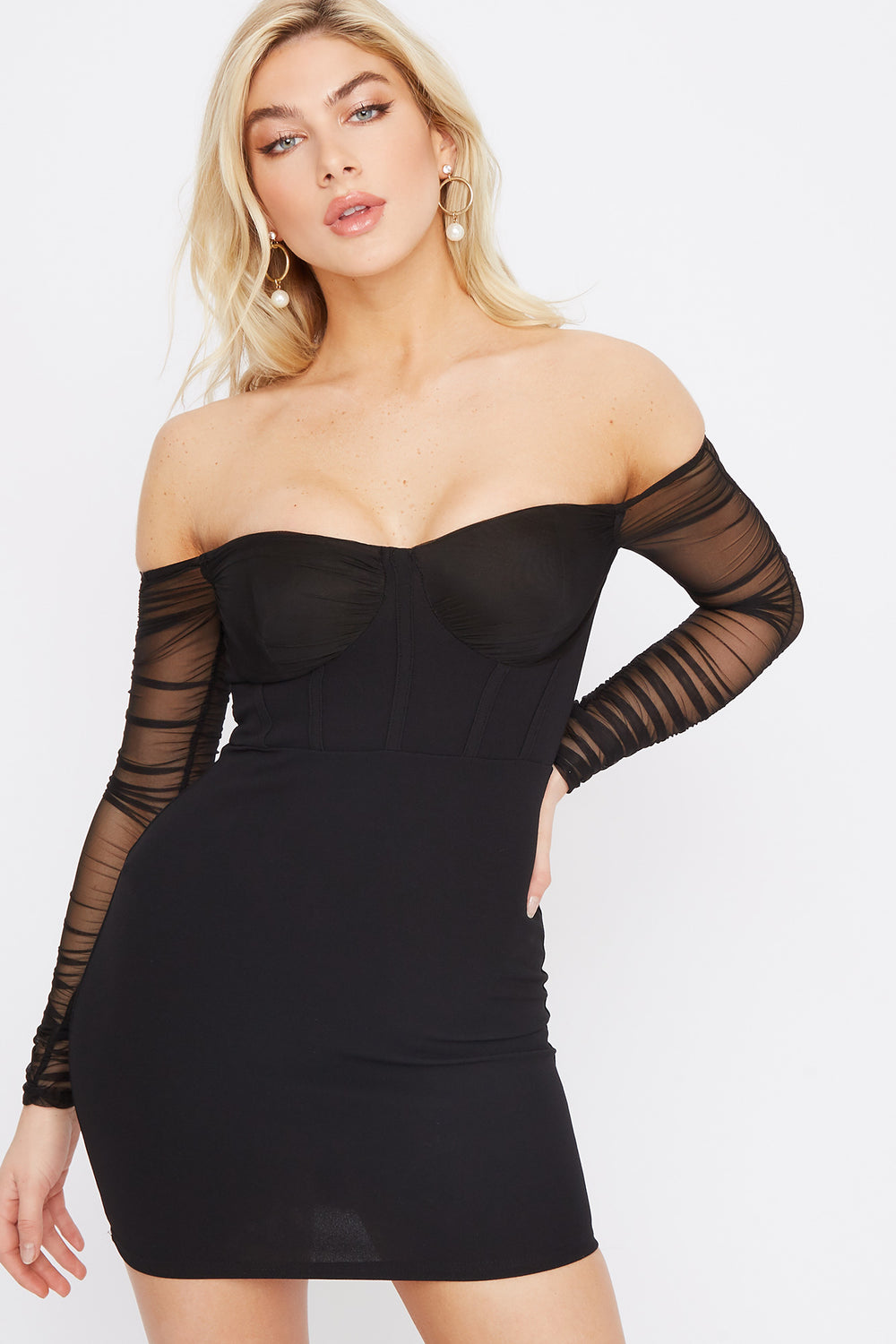 Off The Shoulder Mesh Sleeve Mini Dress Black