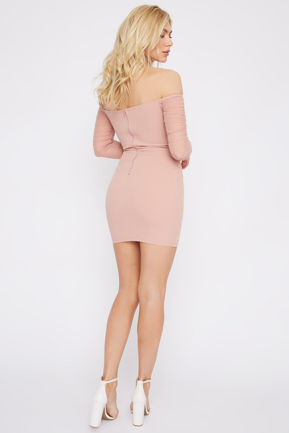 Off The Shoulder Mesh Sleeve Mini Dress Dusty Rose