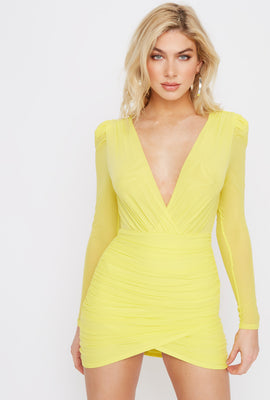 Deep V-Neck Mesh Ruched Mini Dress