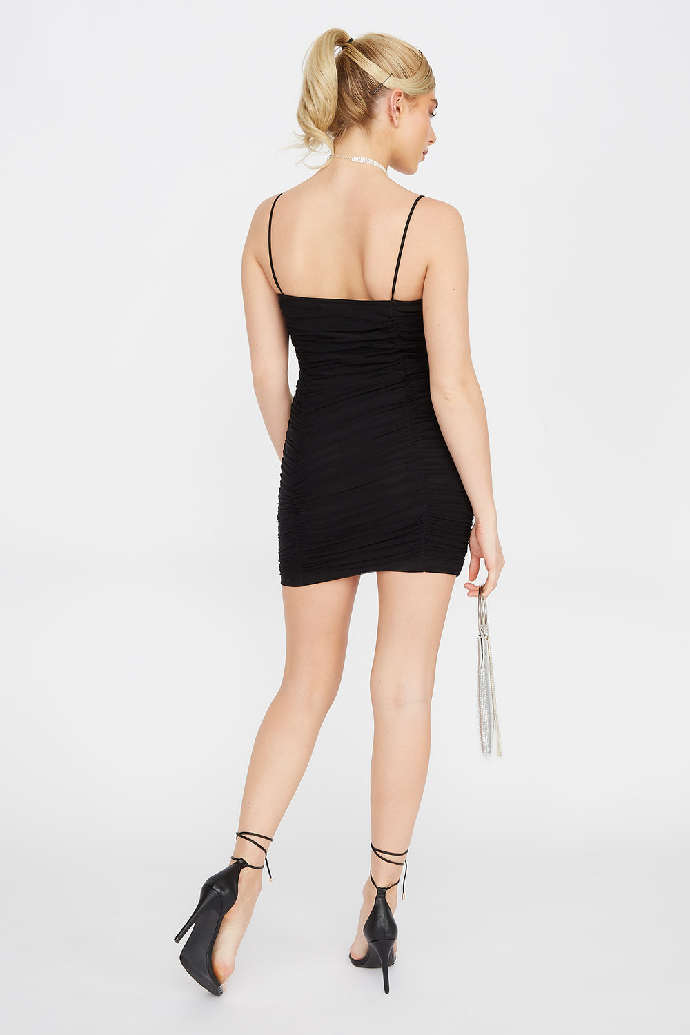 Ruched Mesh Mini Dress Black