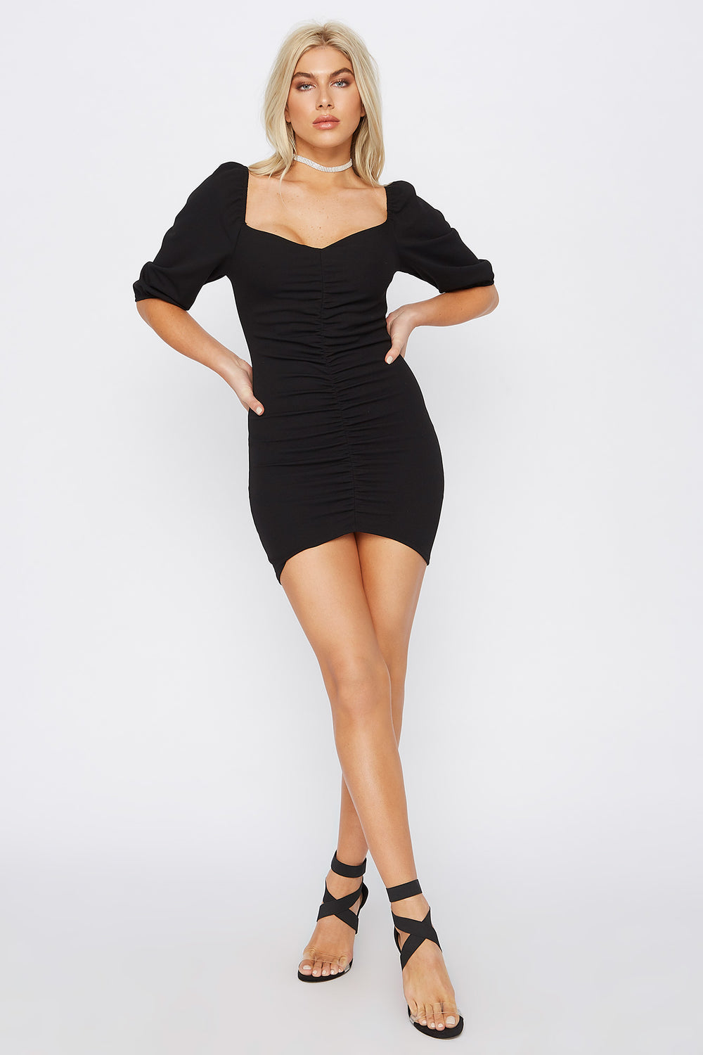 Ruched Sweetheart Puff Sleeve Mini Dress Black