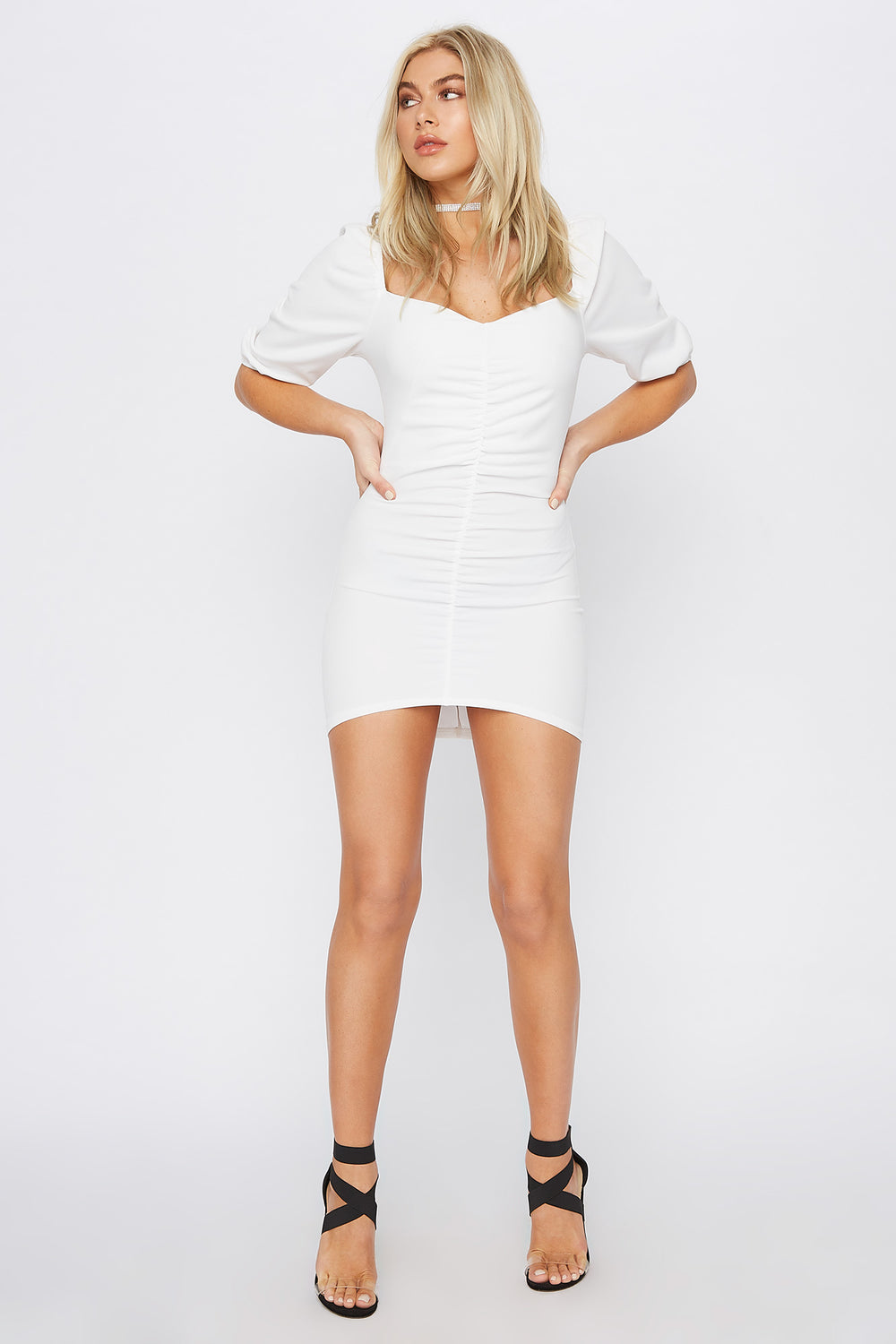 Ruched Sweetheart Puff Sleeve Mini Dress Ivory