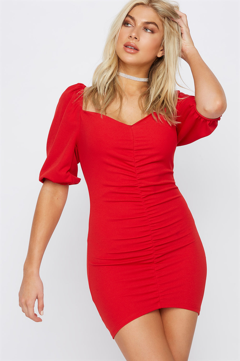 Ruched Sweetheart Puff Sleeve Mini Dress Red