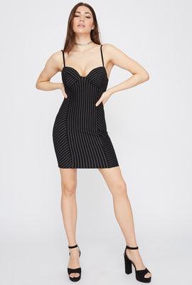 Pinstripe Bodycon Mini Dress