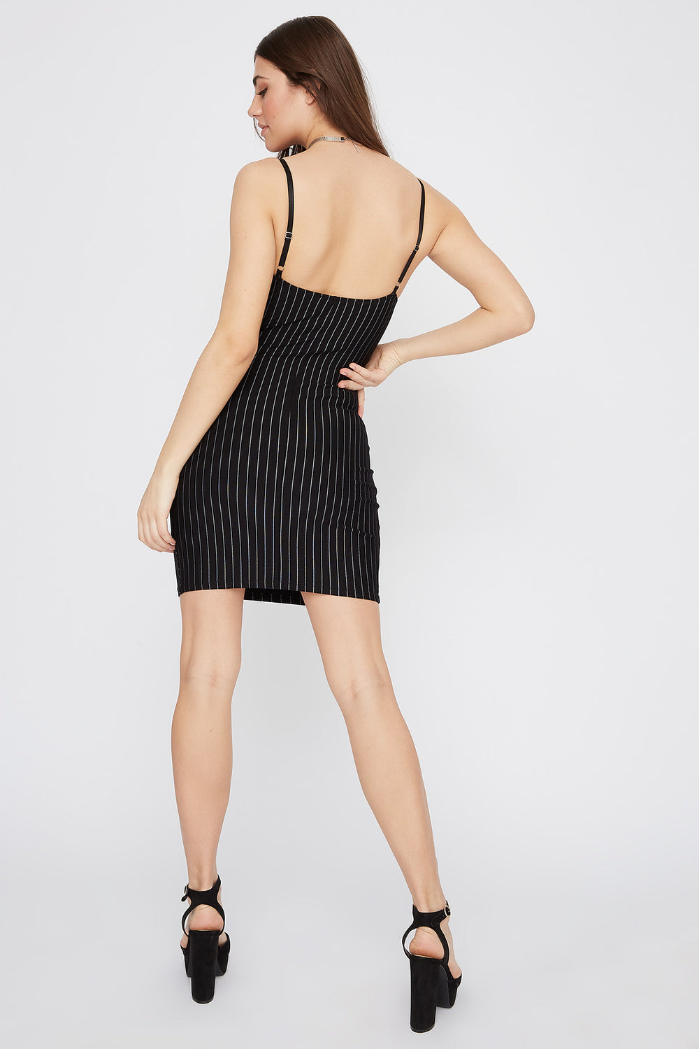 Pinstripe Bodycon Mini Dress Black