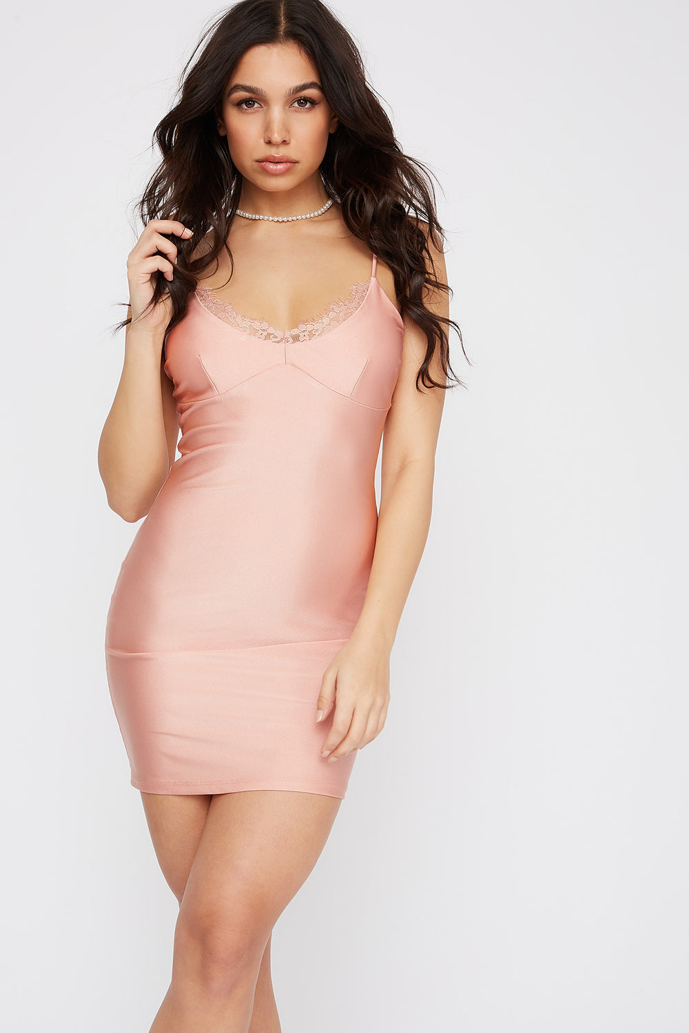 Lace Trim V-Neck Crystal Mini Dress Mauve