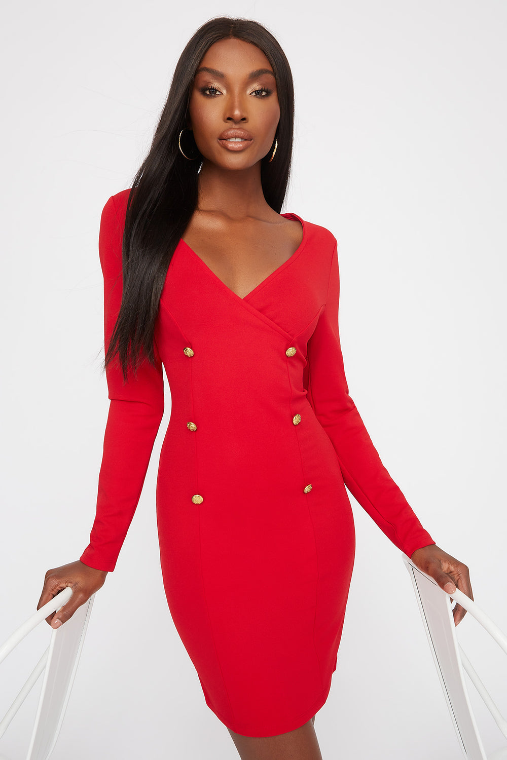 Gold Button Long Sleeve Wrap Mini Dress Red