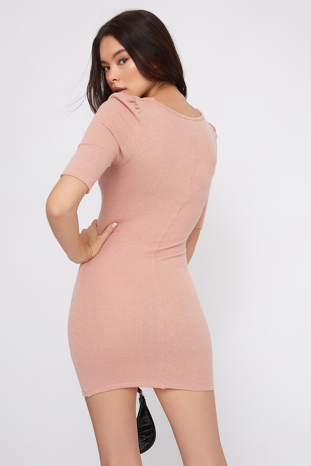 Ribbed Sweetheart Neck Mini Dress Fuchsia