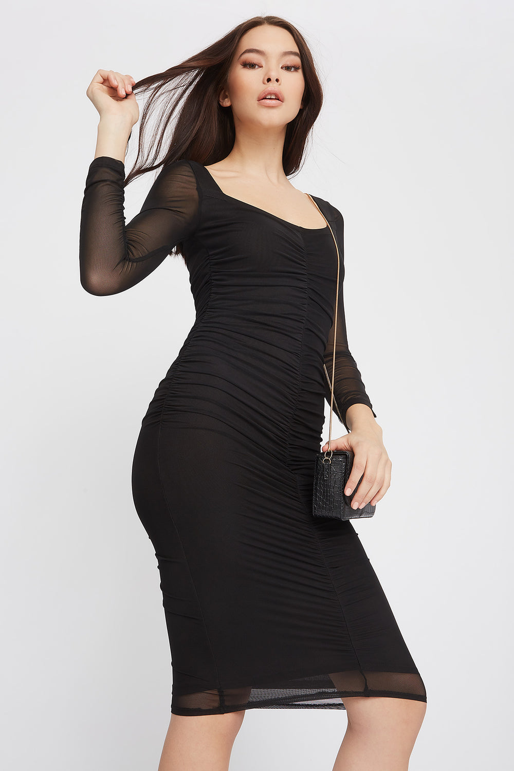 Long Sleeve Ruched Mesh Midi Dress Black