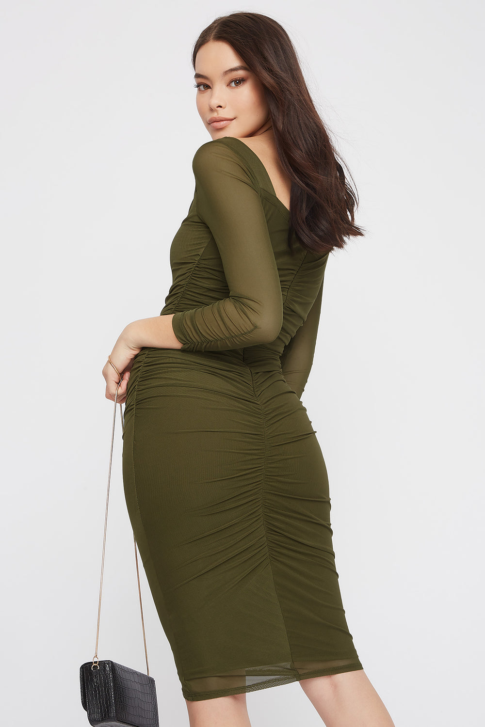 Long Sleeve Ruched Mesh Midi Dress Dark Green