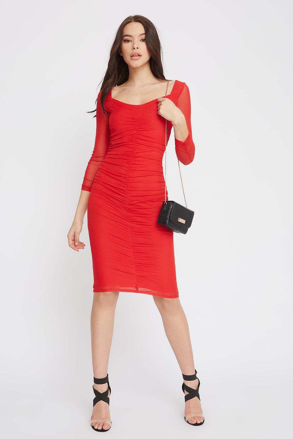 Long Sleeve Ruched Mesh Midi Dress Red