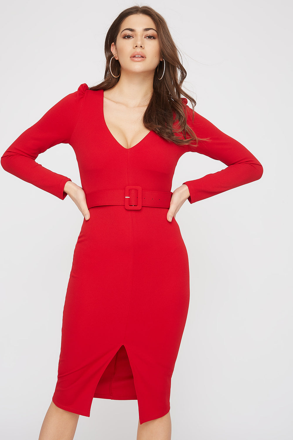Belted V-Neck Long Sleeve Midi Dress Red