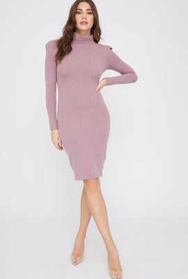 Ribbed Turtleneck Mini Dress