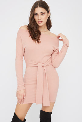 Ribbed Off The Shoulder Tie Front Mini Dress