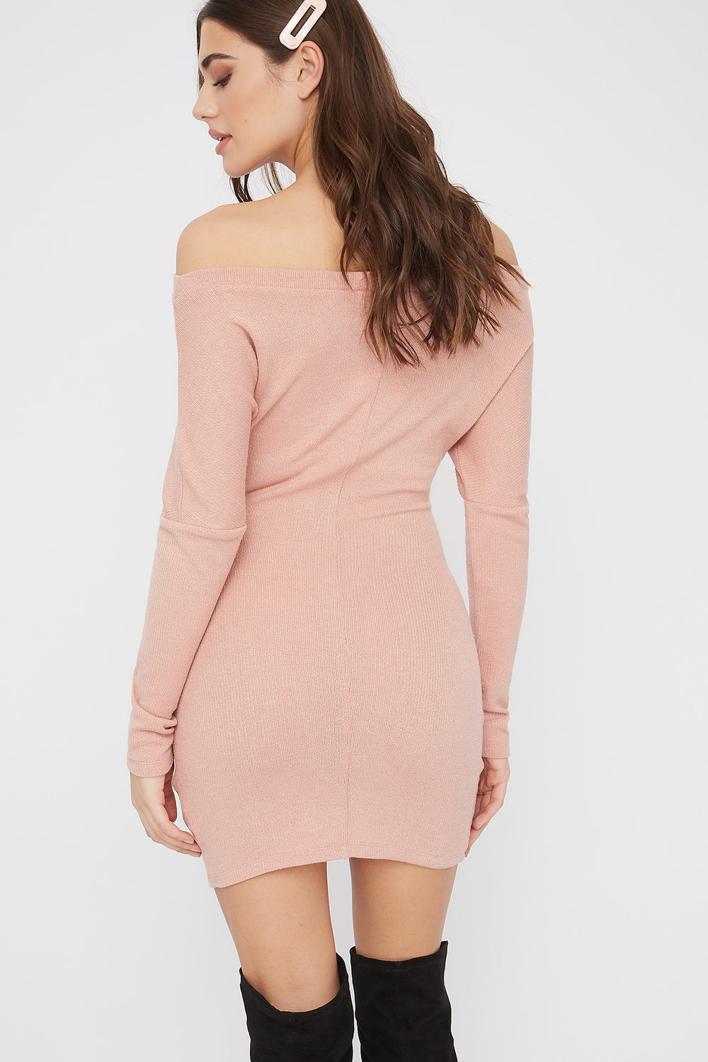 Ribbed Off The Shoulder Tie Front Mini Dress Dusty Rose