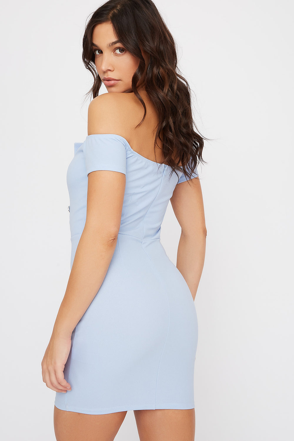 Off The Shoulder V-Neck Button Mini Dress Light Blue