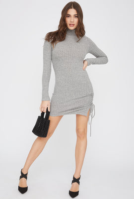 Ribbed Ruched Turtleneck Mini Dress