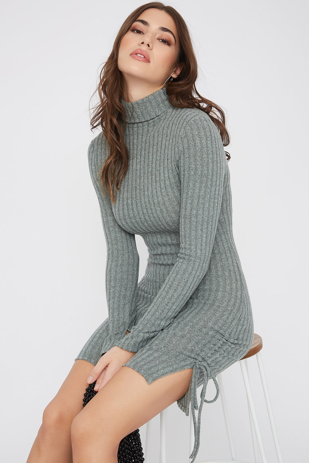 Ribbed Ruched Turtleneck Mini Dress Sage