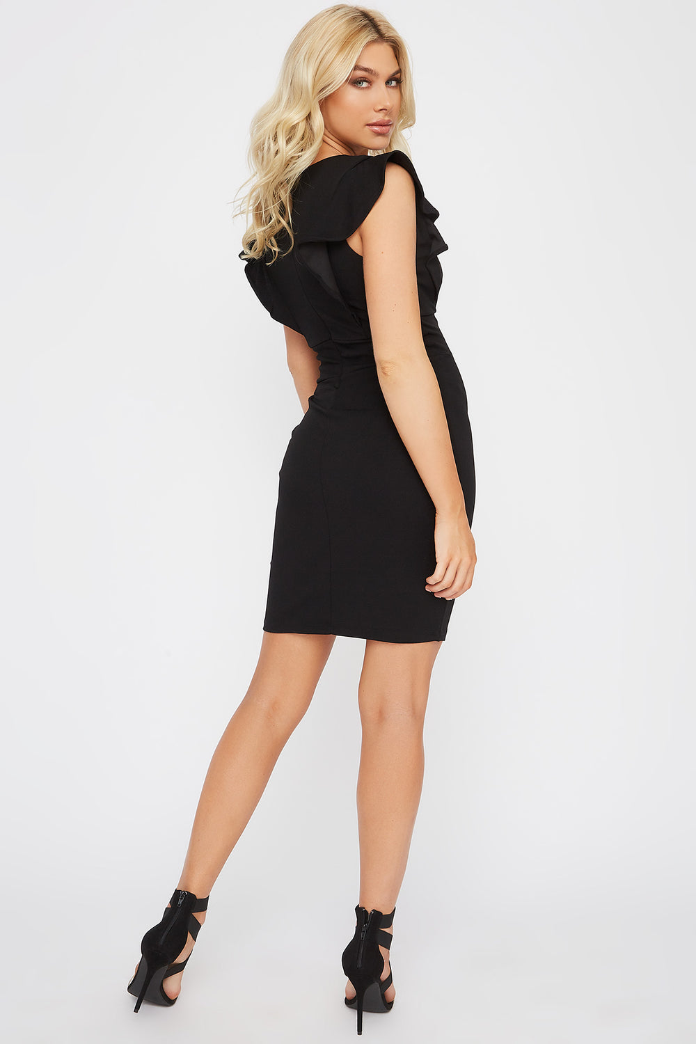 Ruffle Sleeve V-Neck Mini Dress Black