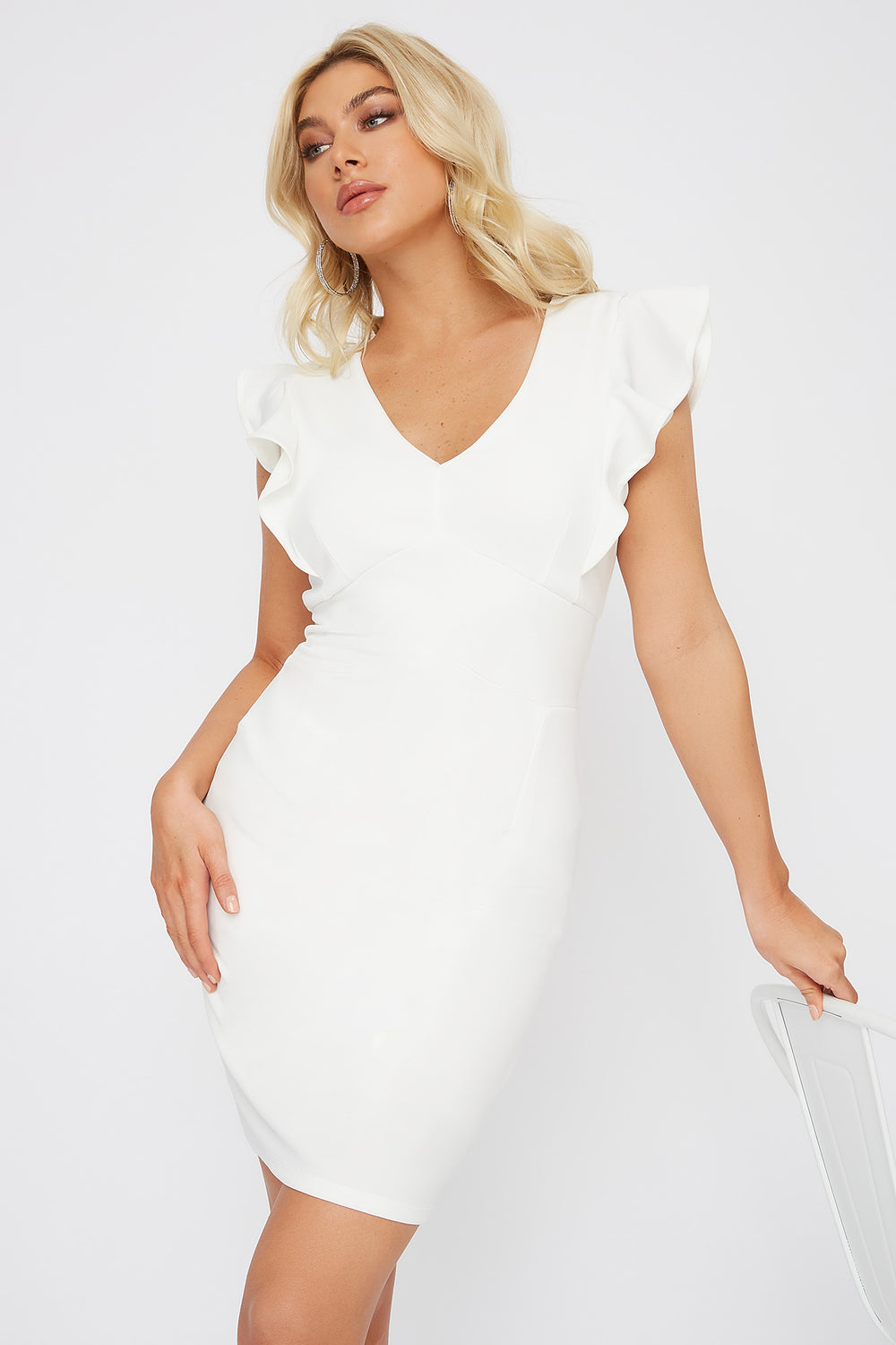 Ruffle Sleeve V-Neck Mini Dress Ivory