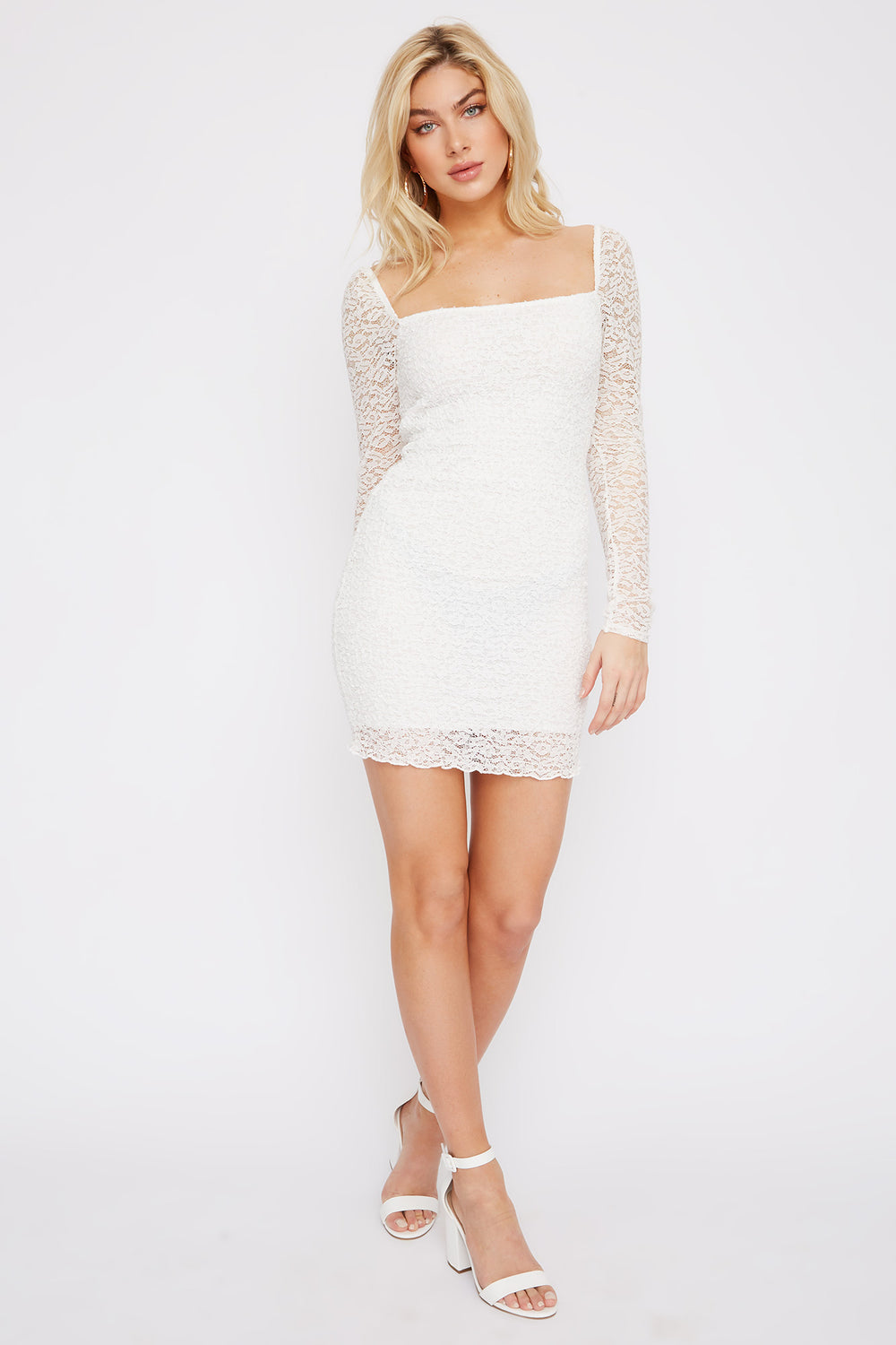 Lace Square Neck Smocked Mini Dress Ivory