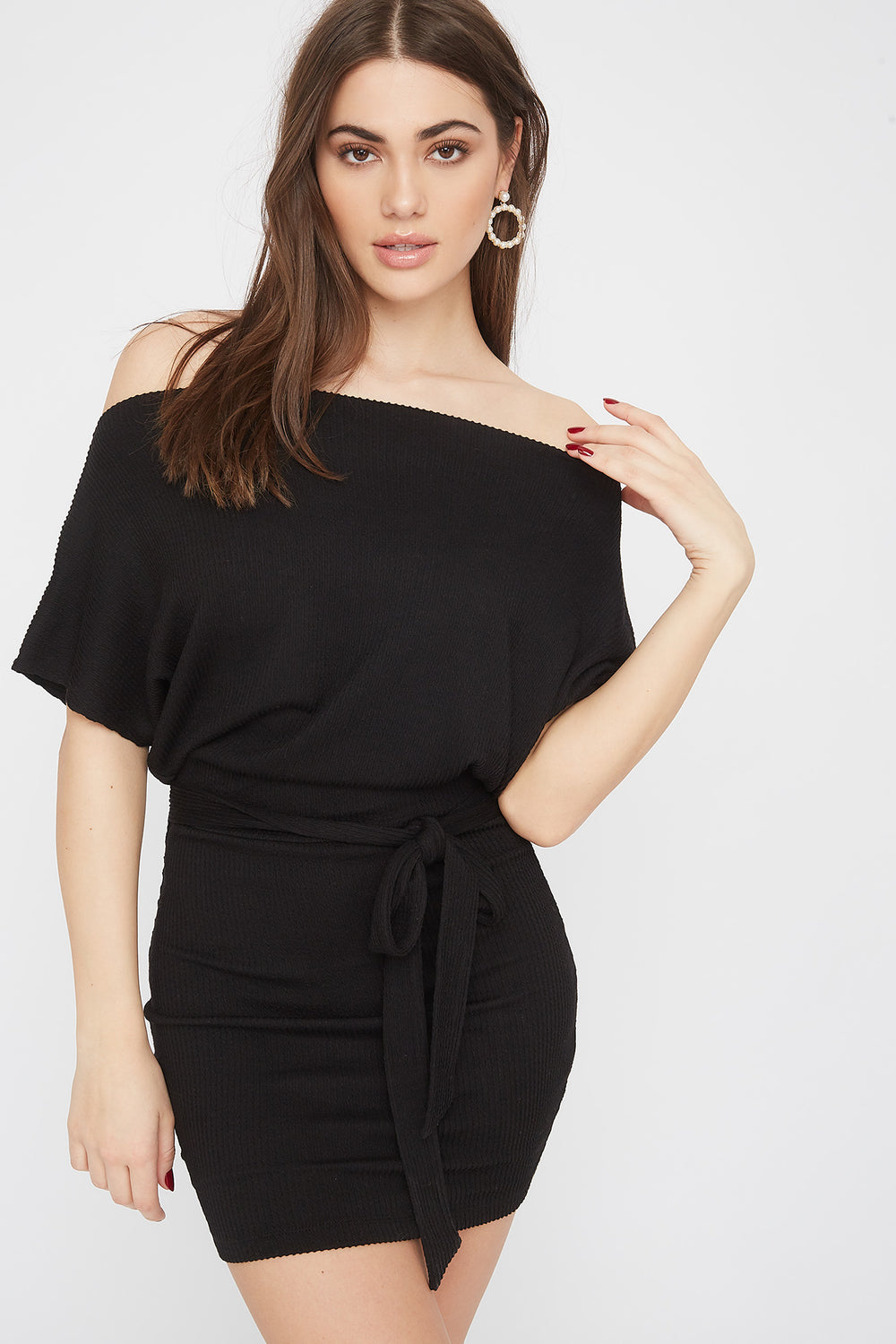 Ribbed Off The Shoulder Self Tie Mini Dress Black