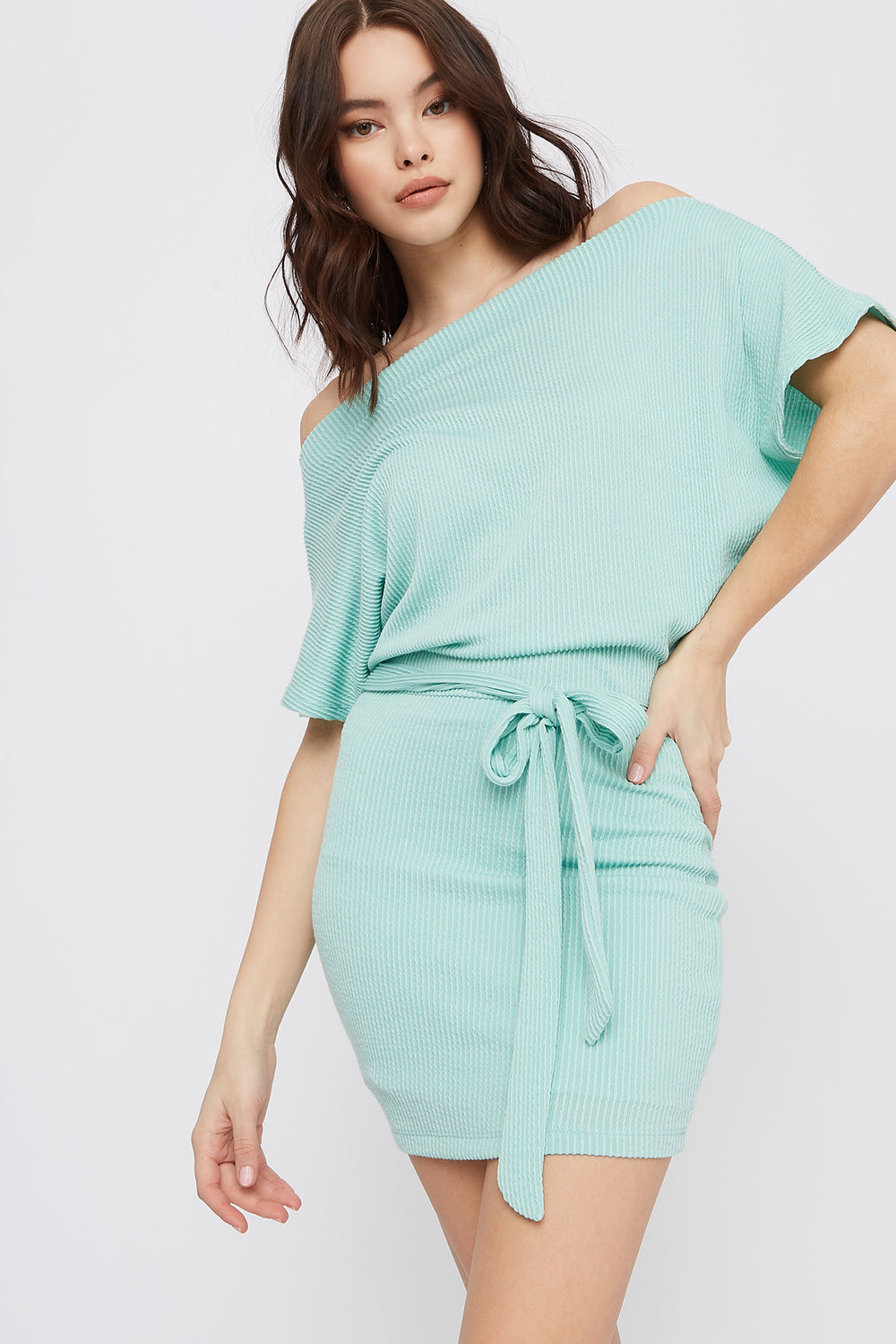 Ribbed Off The Shoulder Self Tie Mini Dress Ocean Blue