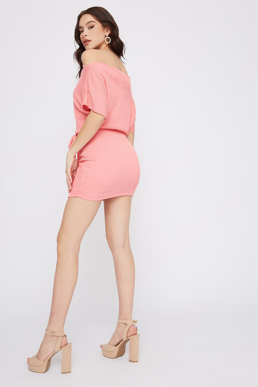 Ribbed Off The Shoulder Self Tie Mini Dress Coral