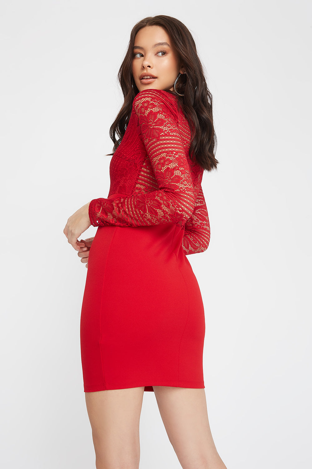 Long Sleeve Lace Contrast Mini Dress Red