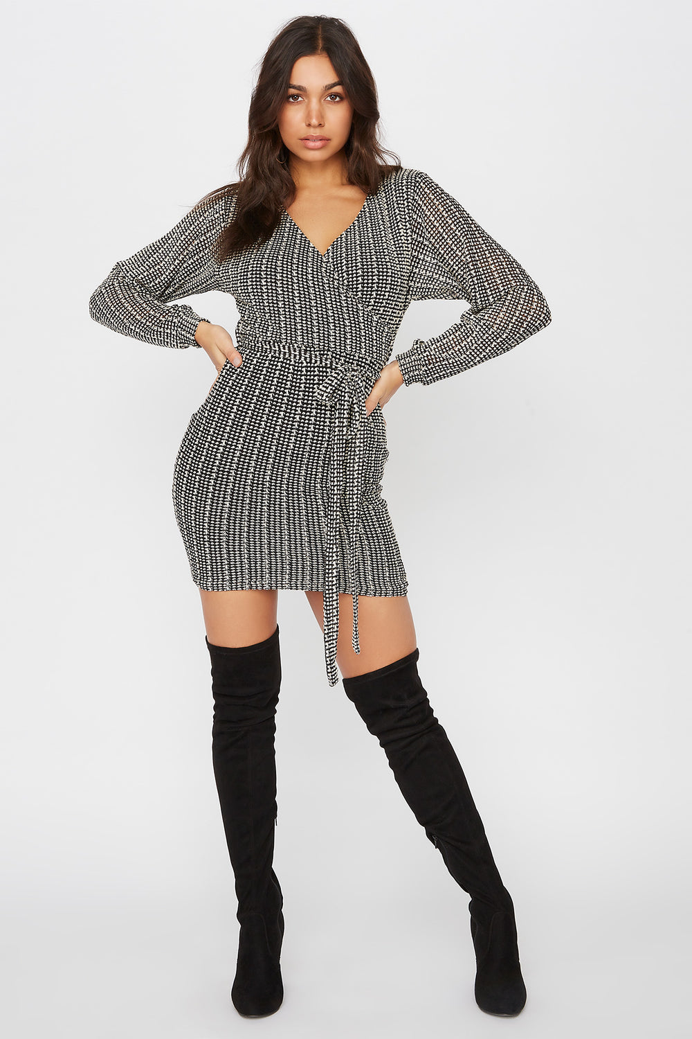 Knit Long Sleeve Self Tie Wrap Mini Dress Ivory
