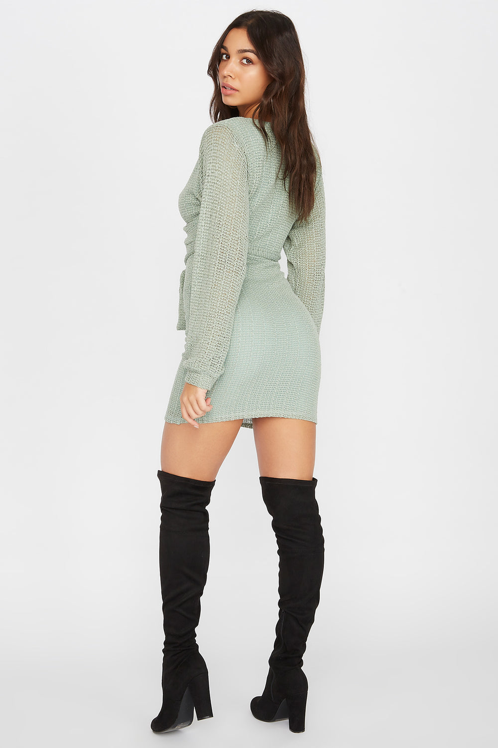 Knit Long Sleeve Self Tie Wrap Mini Dress Sage