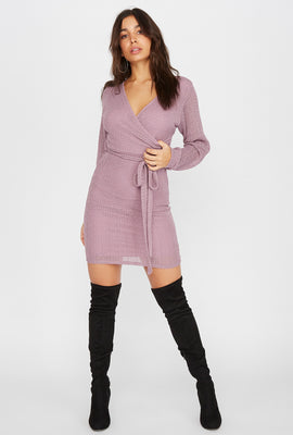 Knit Long Sleeve Self Tie Wrap Mini Dress
