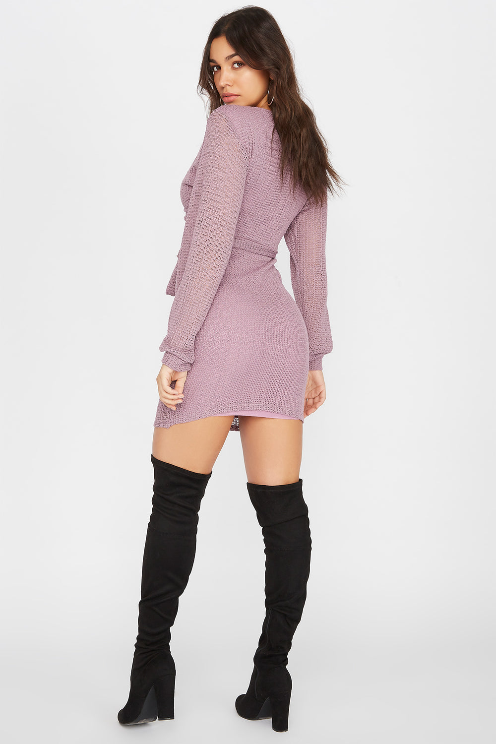 Knit Long Sleeve Self Tie Wrap Mini Dress Lilac